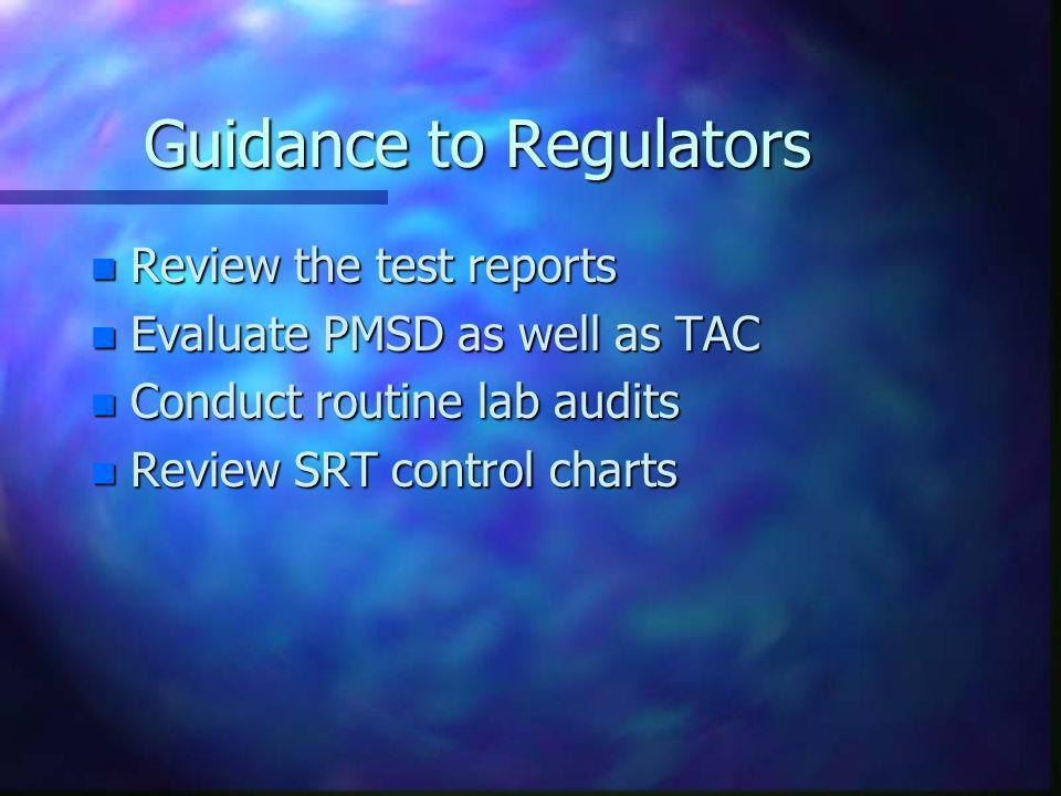 Guidance to Regulators
