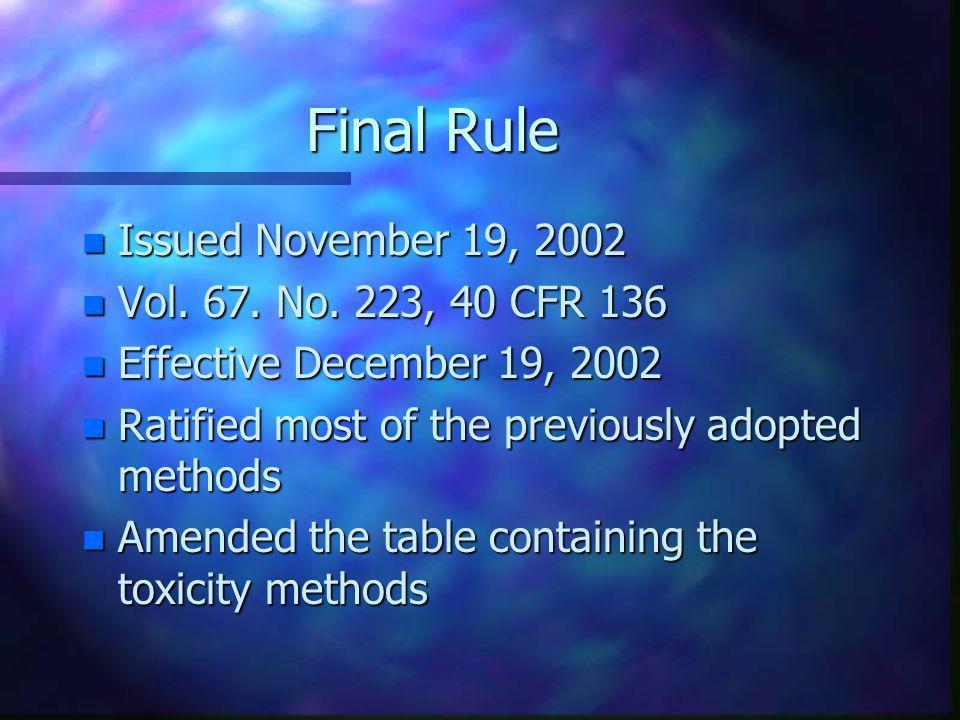 Final Rule Issued November 19, 2002 Vol. 67. No. 223, 40 CFR 136