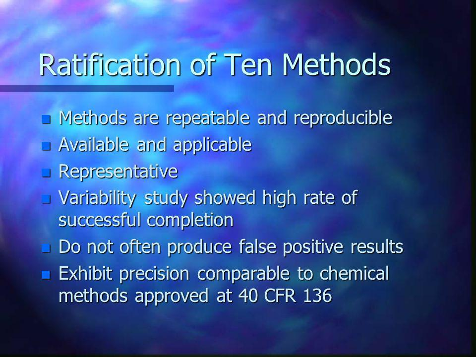 Ratification of Ten Methods
