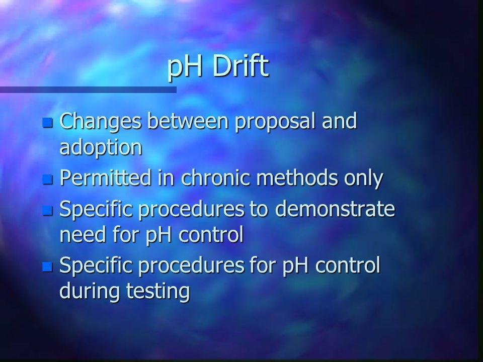 pH Drift Changes between proposal and adoption