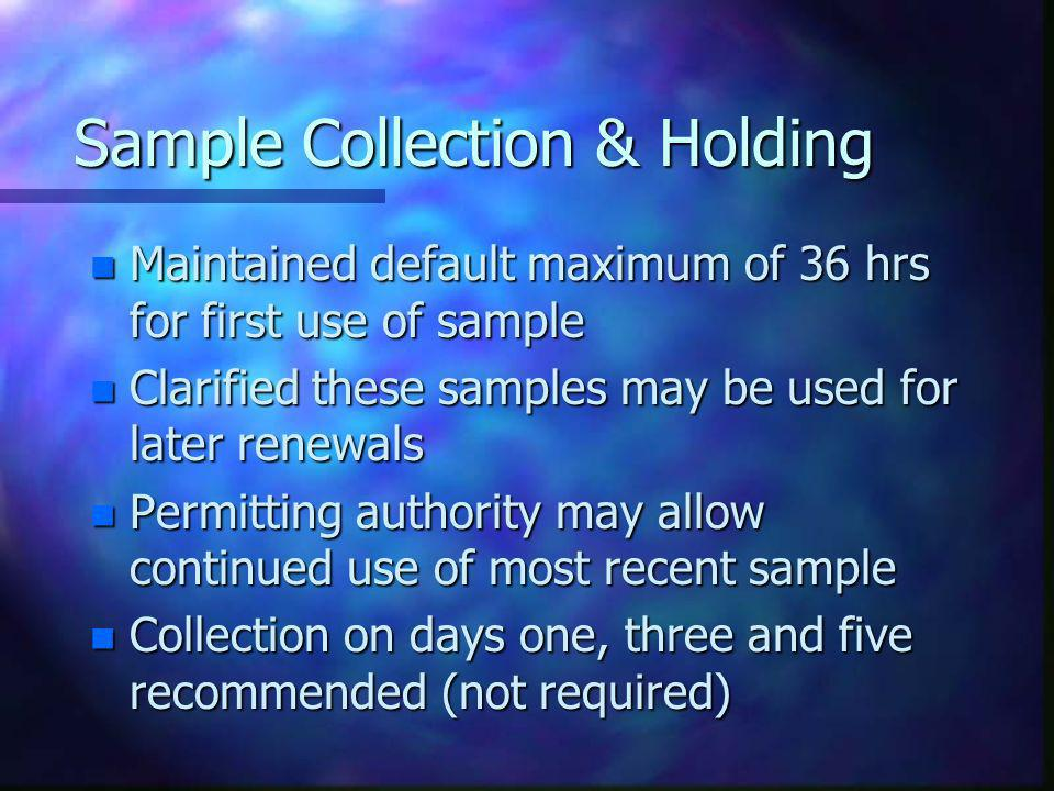 Sample Collection & Holding