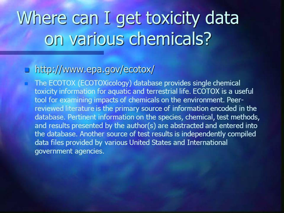 Where can I get toxicity data on various chemicals