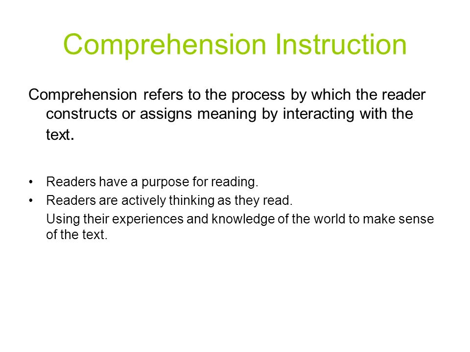 Comprehension Instruction