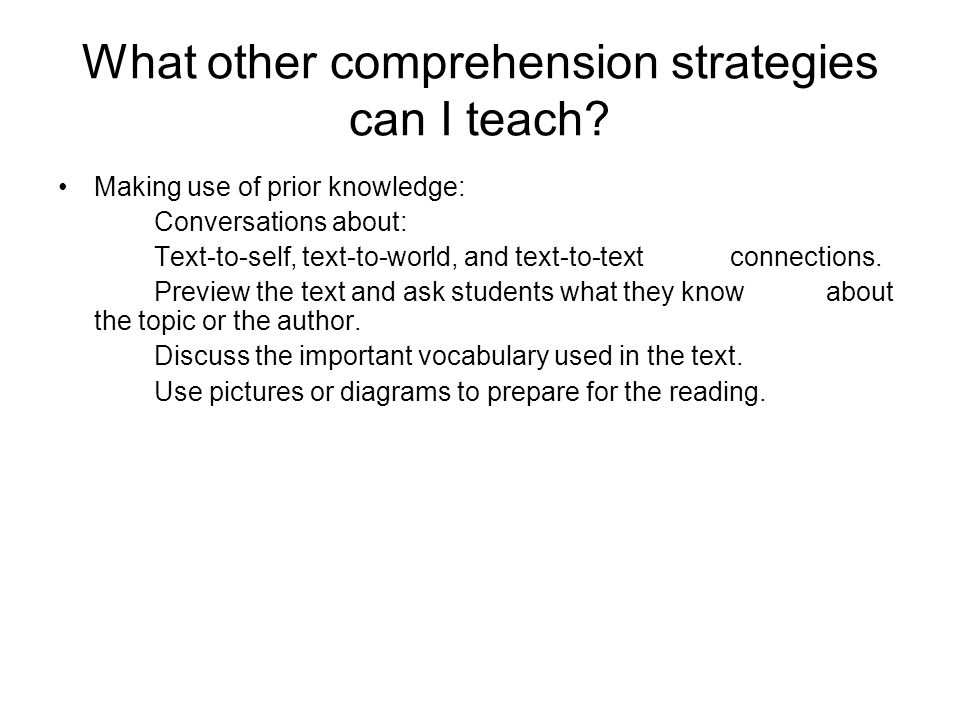 What other comprehension strategies can I teach