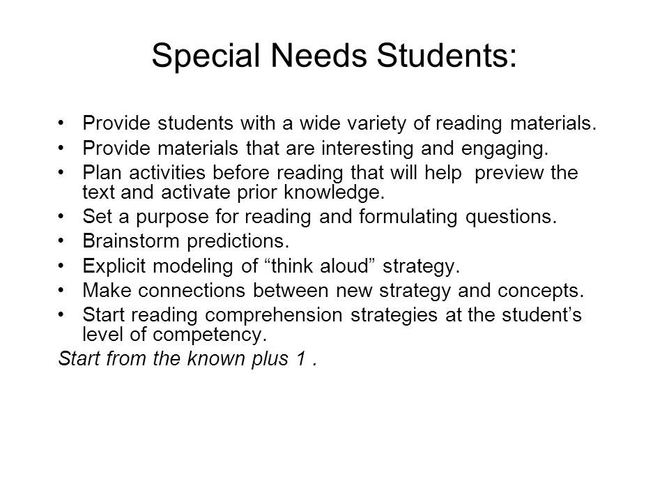 Special Needs Students: