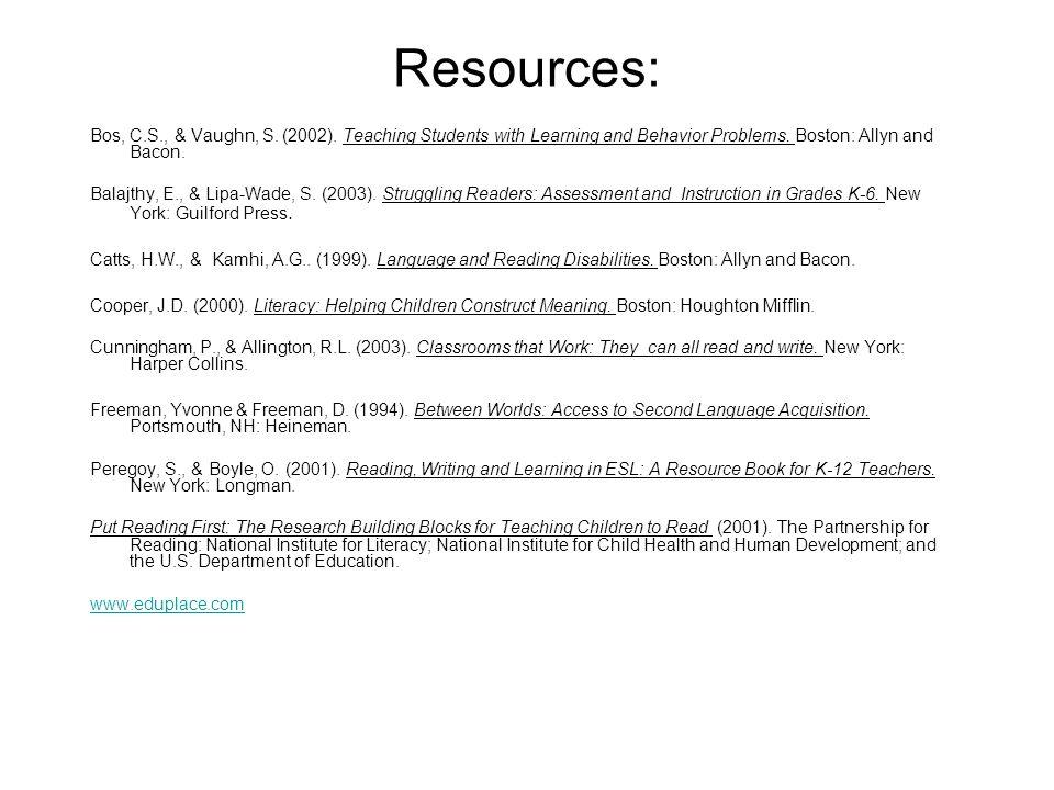 Resources: Bos, C.S., & Vaughn, S. (2002). Teaching Students with Learning and Behavior Problems. Boston: Allyn and Bacon.