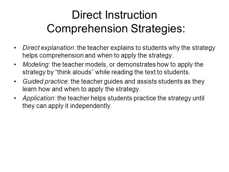 Direct Instruction Comprehension Strategies: