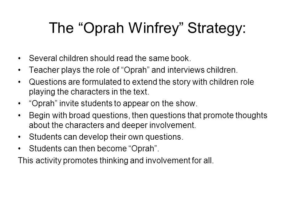 The Oprah Winfrey Strategy: