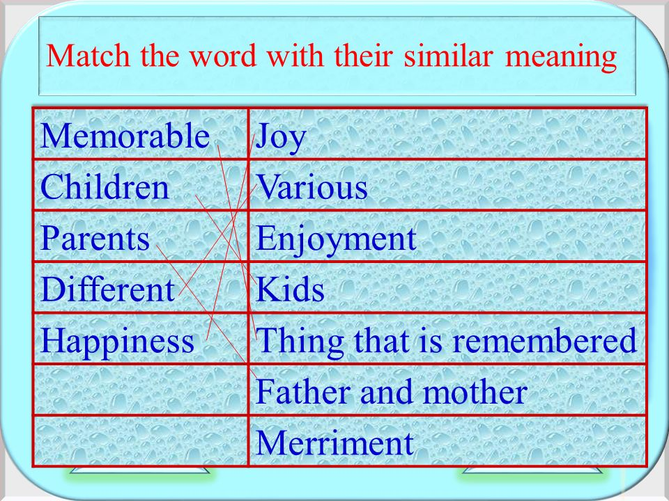 Match the word with their similar meaning