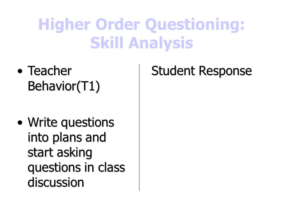 Higher Order Questioning: Skill Analysis
