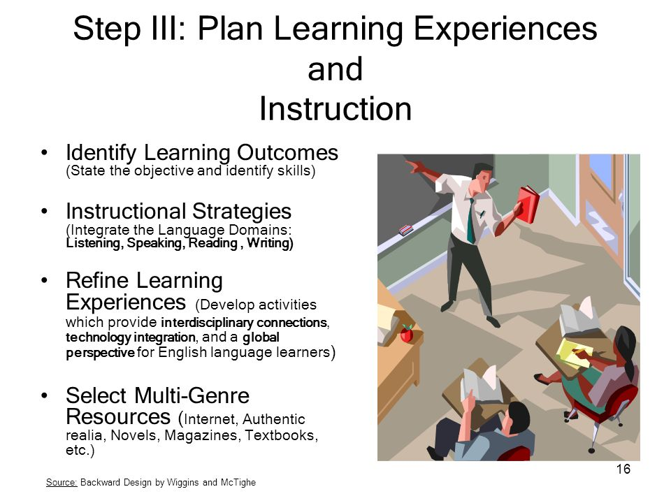Step III: Plan Learning Experiences and Instruction