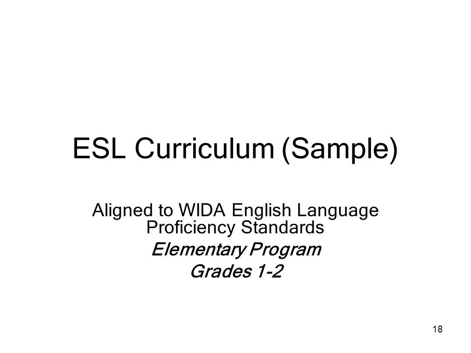 ESL Curriculum (Sample)