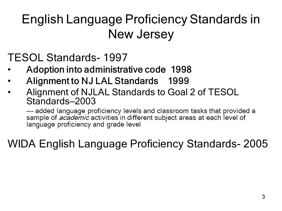 English Language Proficiency Standards in New Jersey