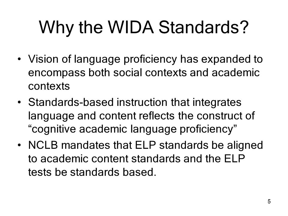 Why the WIDA Standards Vision of language proficiency has expanded to encompass both social contexts and academic contexts.