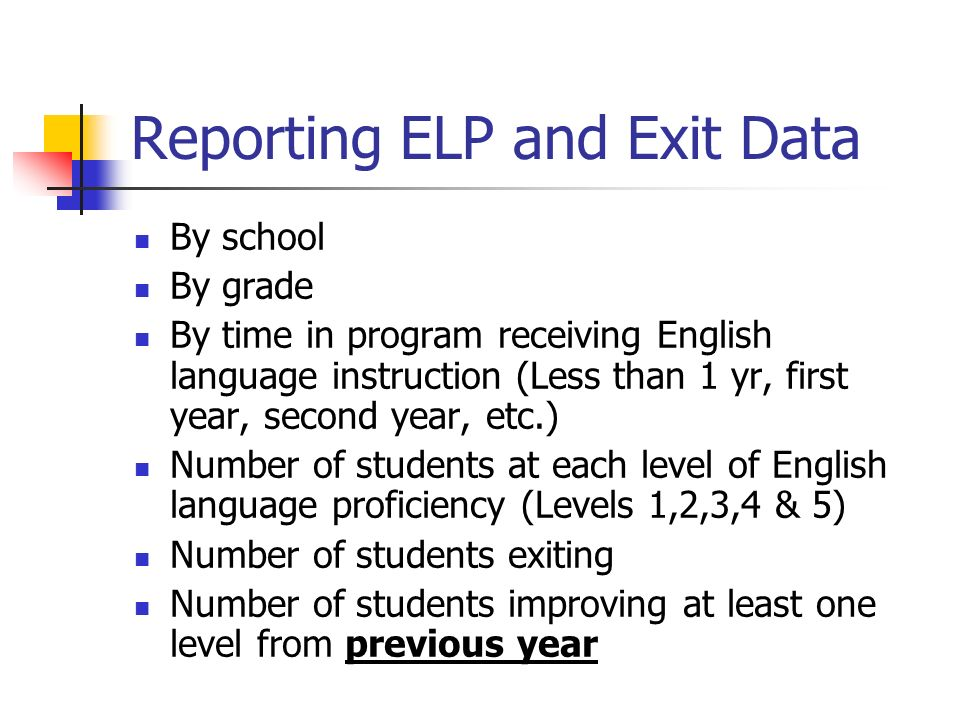 Reporting ELP and Exit Data