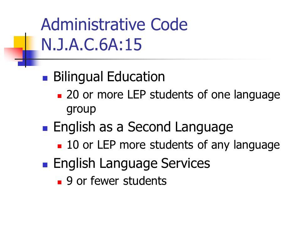 Administrative Code N.J.A.C.6A:15