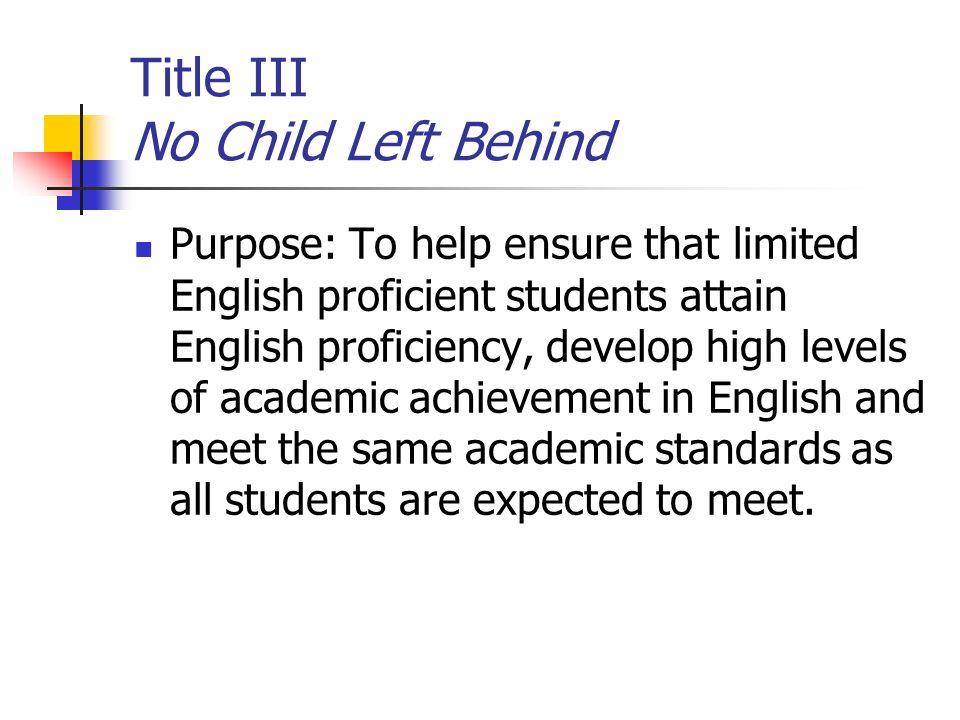 Title III No Child Left Behind