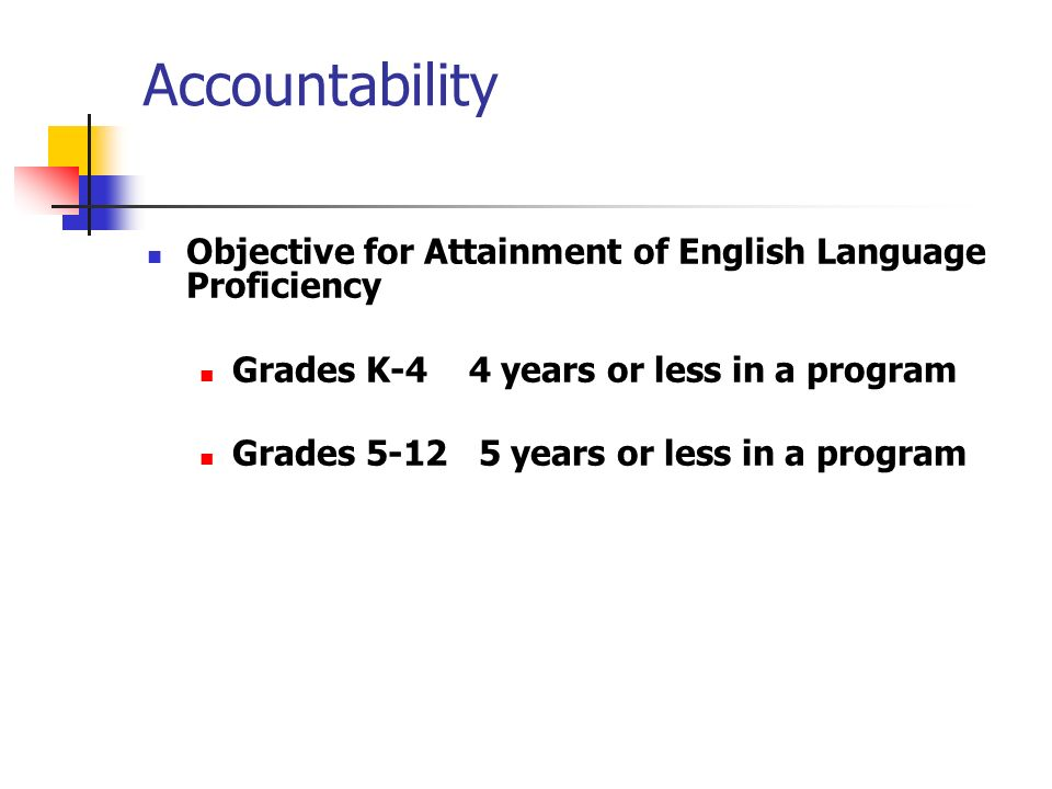 Accountability Objective for Attainment of English Language Proficiency. Grades K-4 4 years or less in a program.