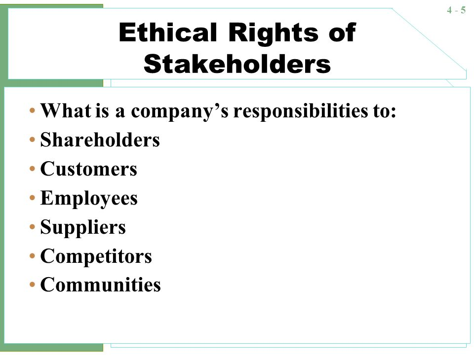 stakeholders categories responsibilities of organizations Carroll's four categories or domains of csr, upon which the pyramid was   fulfilling all their legal obligations to societal stakeholders  taking on ethical  responsibilities implies that organizations will embrace those.