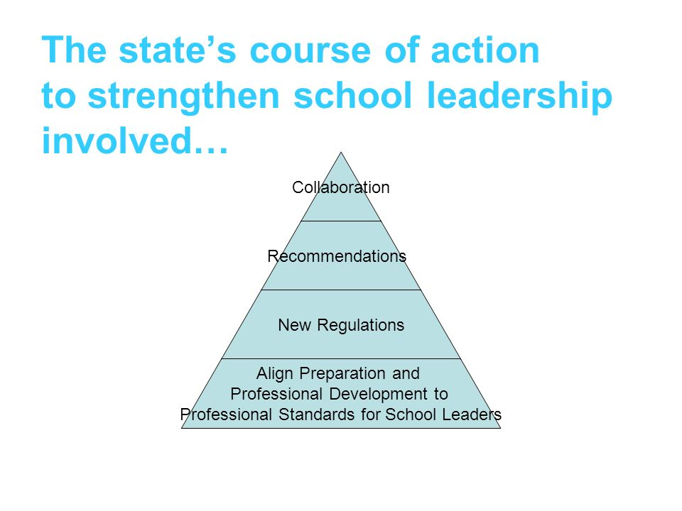 The state's course of action to strengthen school leadership involved…