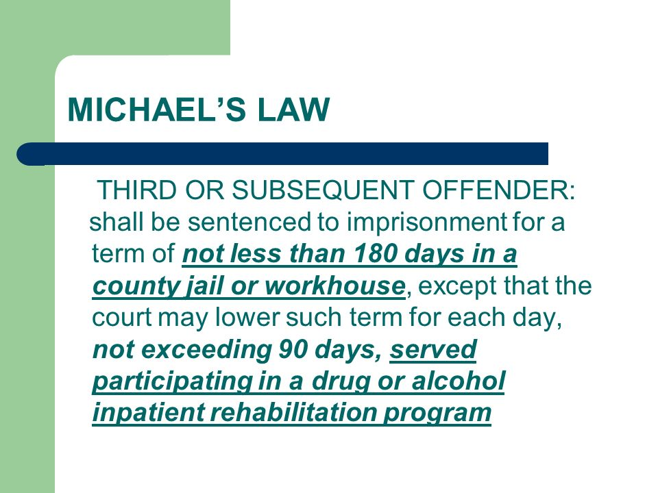 MICHAEL'S LAW THIRD OR SUBSEQUENT OFFENDER: