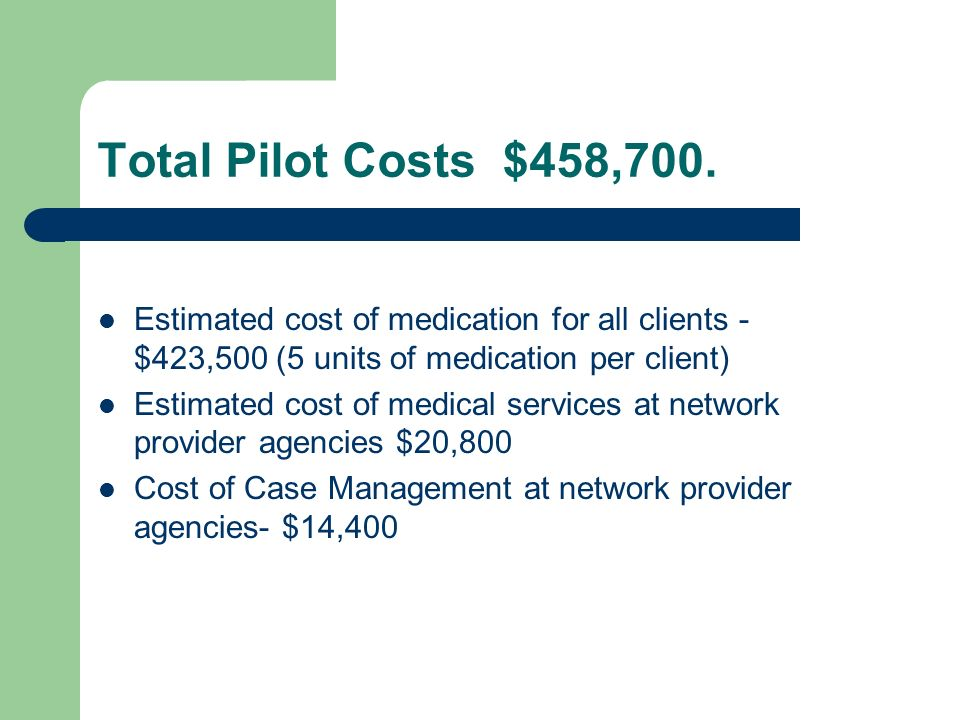 Total Pilot Costs $458,700. Estimated cost of medication for all clients - $423,500 (5 units of medication per client)