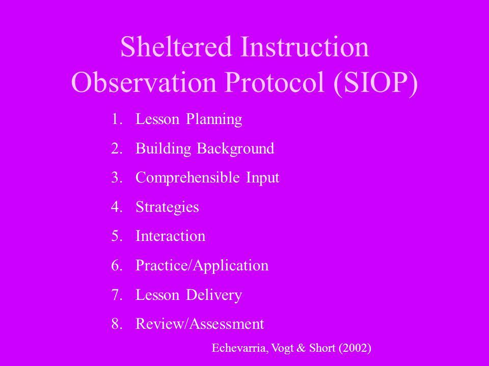 Sheltered Instruction Observation Protocol (SIOP)