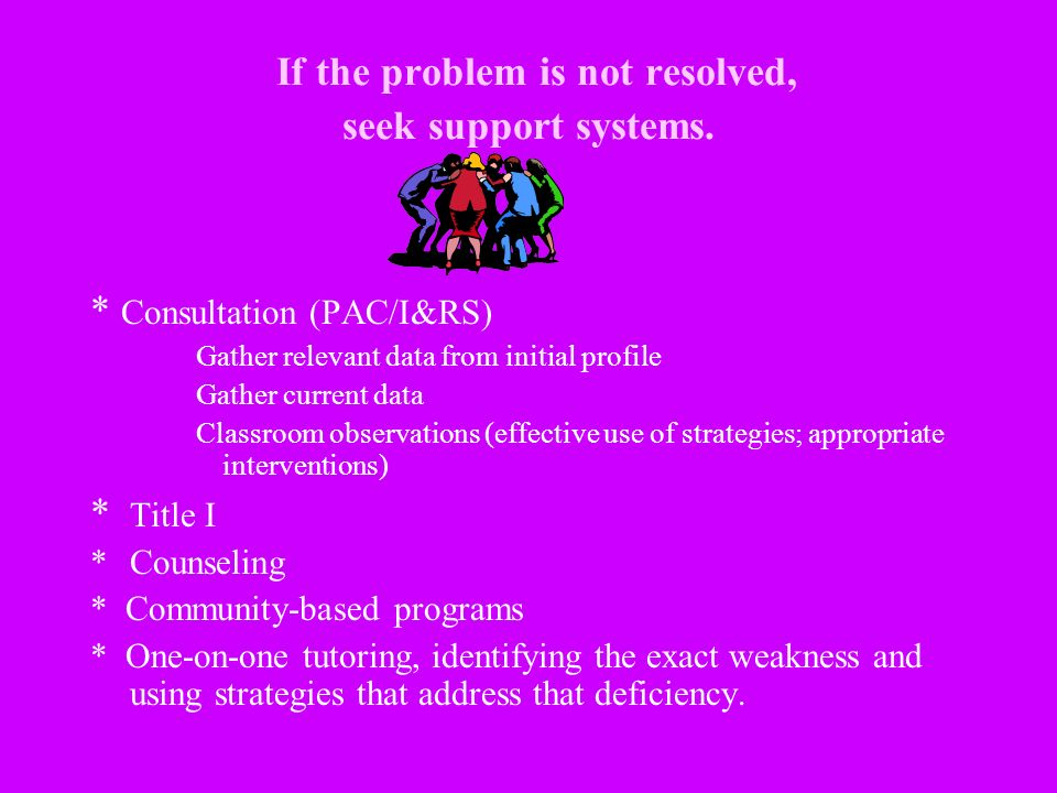 If the problem is not resolved, seek support systems.