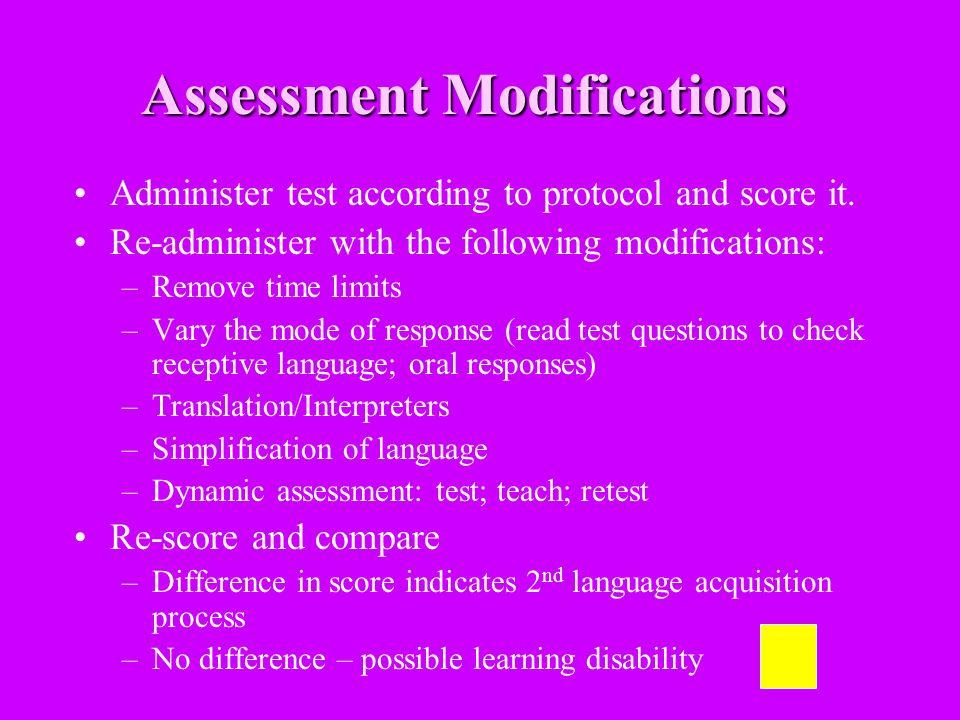 Assessment Modifications