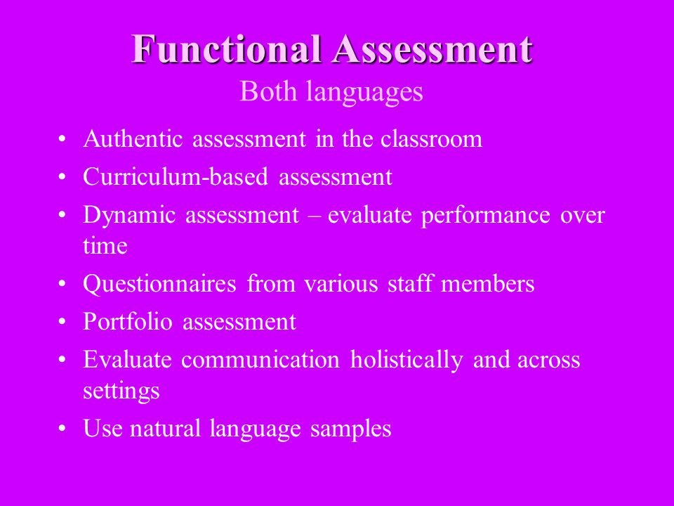 Functional Assessment Both languages