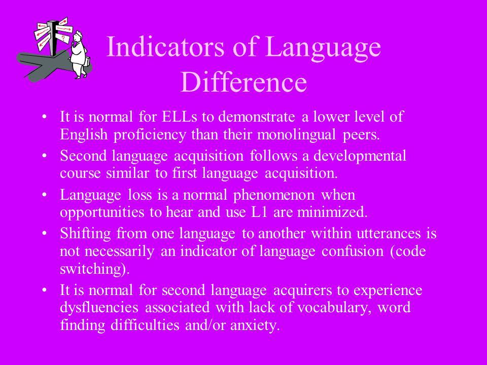 Indicators of Language Difference