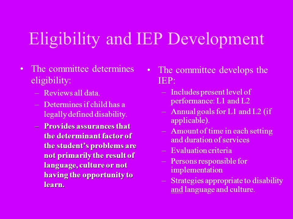 Eligibility and IEP Development