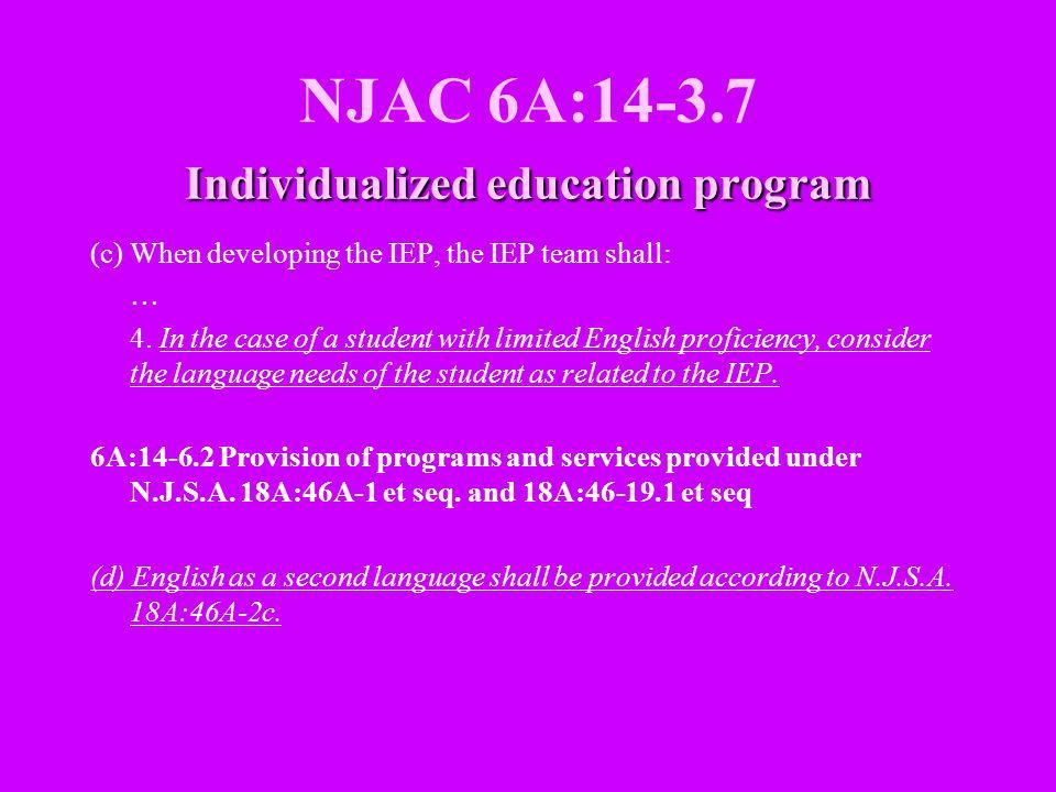 NJAC 6A:14-3.7 Individualized education program
