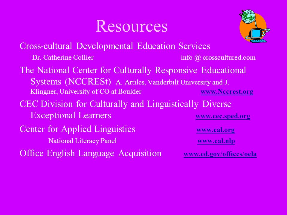 Resources Cross-cultural Developmental Education Services