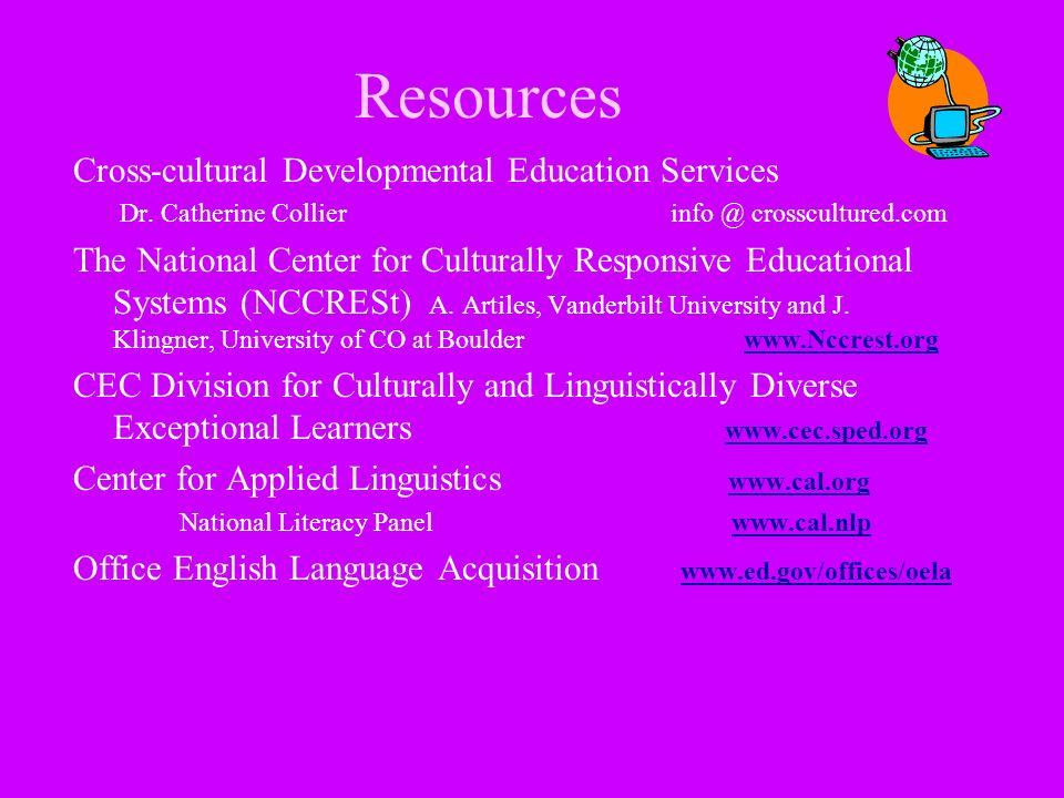 Resources Cross-cultural Developmental Education Services