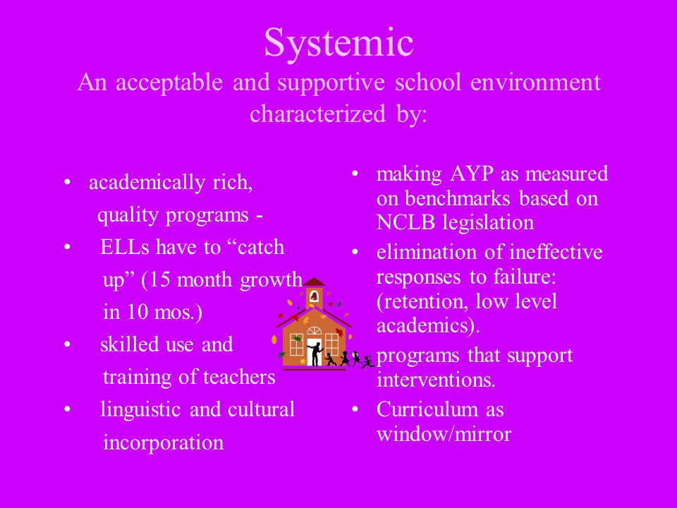 Systemic An acceptable and supportive school environment characterized by: