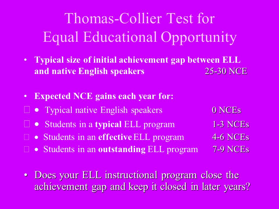 Thomas-Collier Test for Equal Educational Opportunity