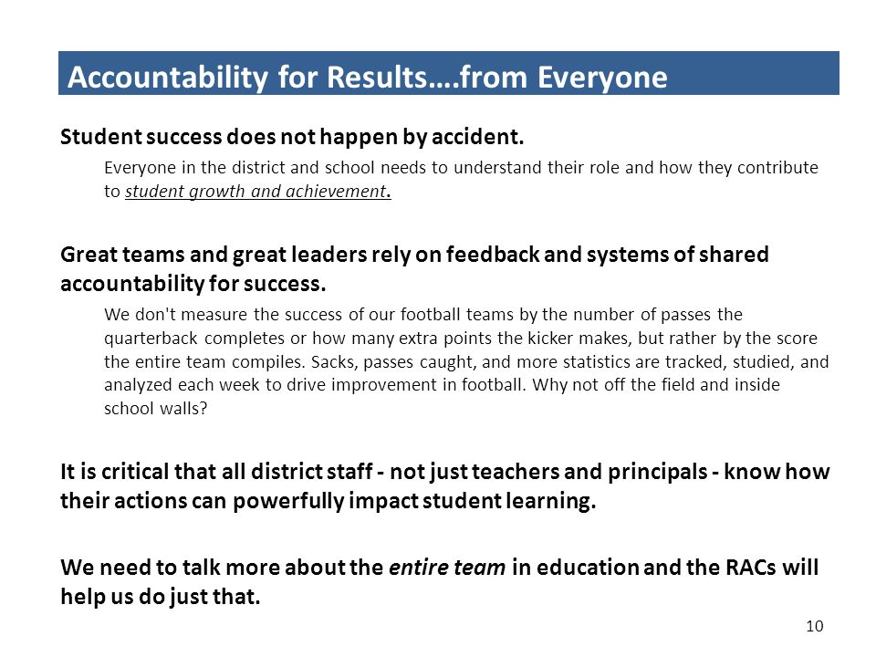 Accountability for Results….from Everyone