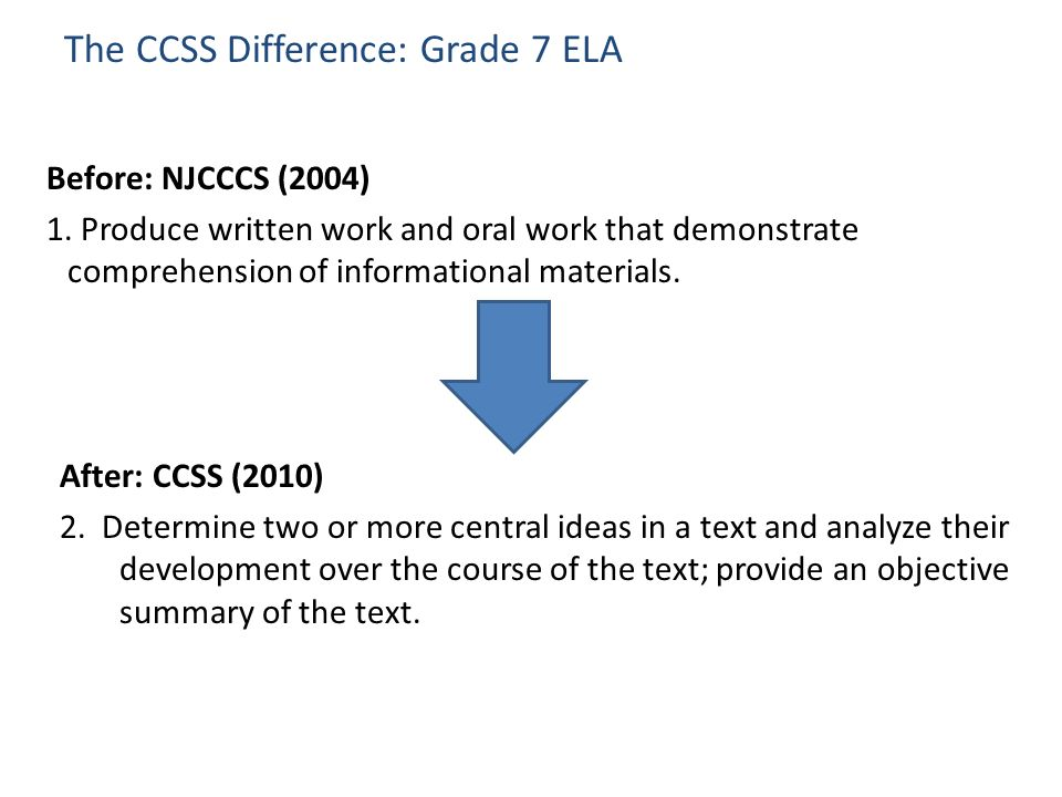 The CCSS Difference: Grade 7 ELA