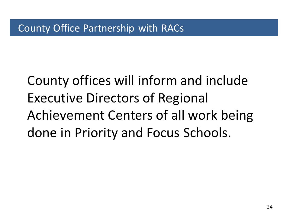 County Office Partnership with RACs