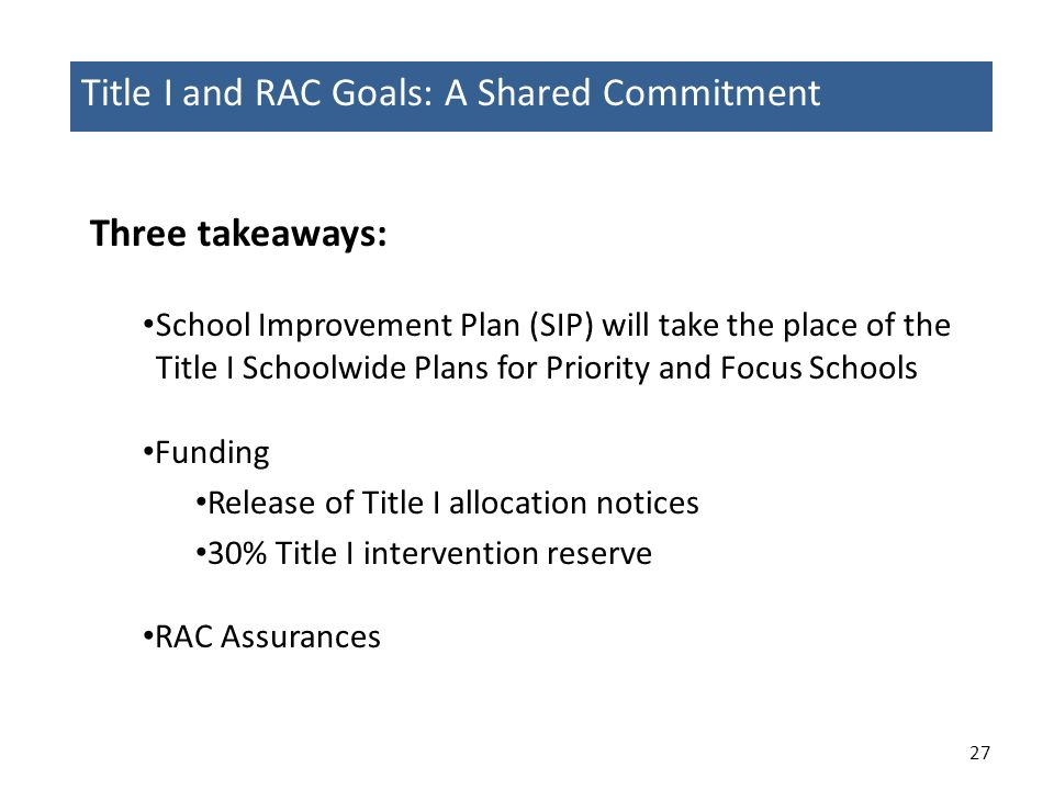 Title I and RAC Goals: A Shared Commitment