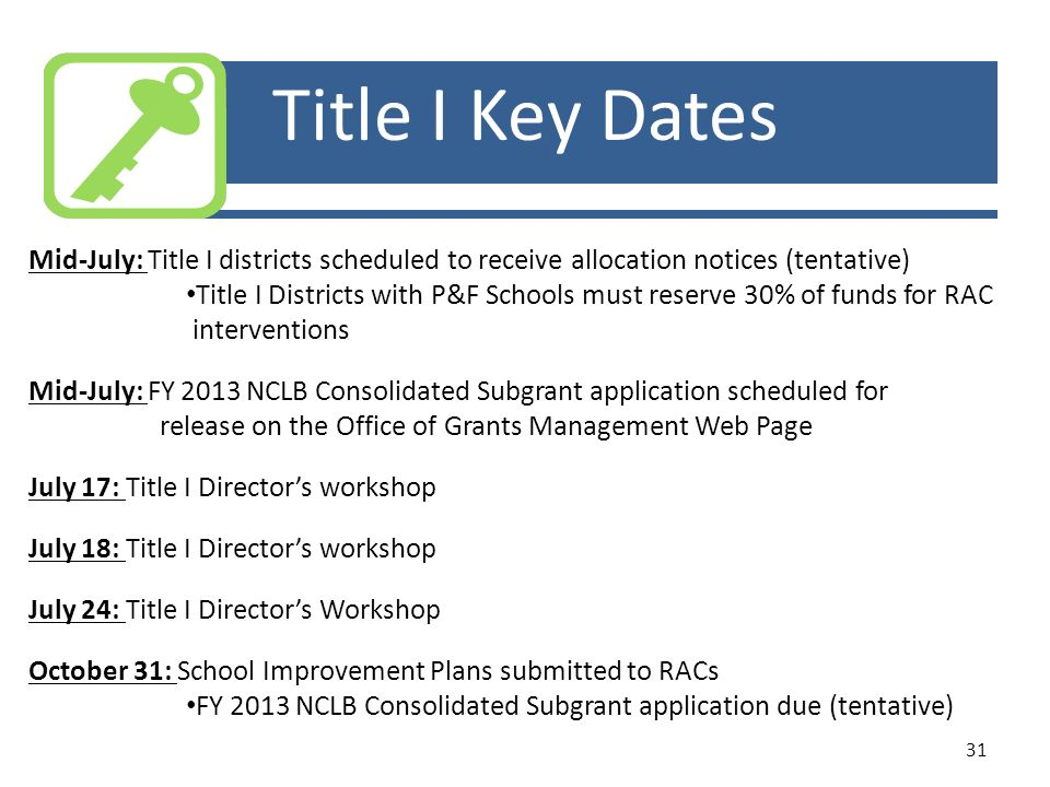Title I Key Dates Mid-July: Title I districts scheduled to receive allocation notices (tentative)