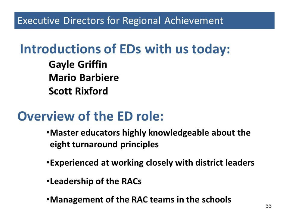 Overview of the ED role:
