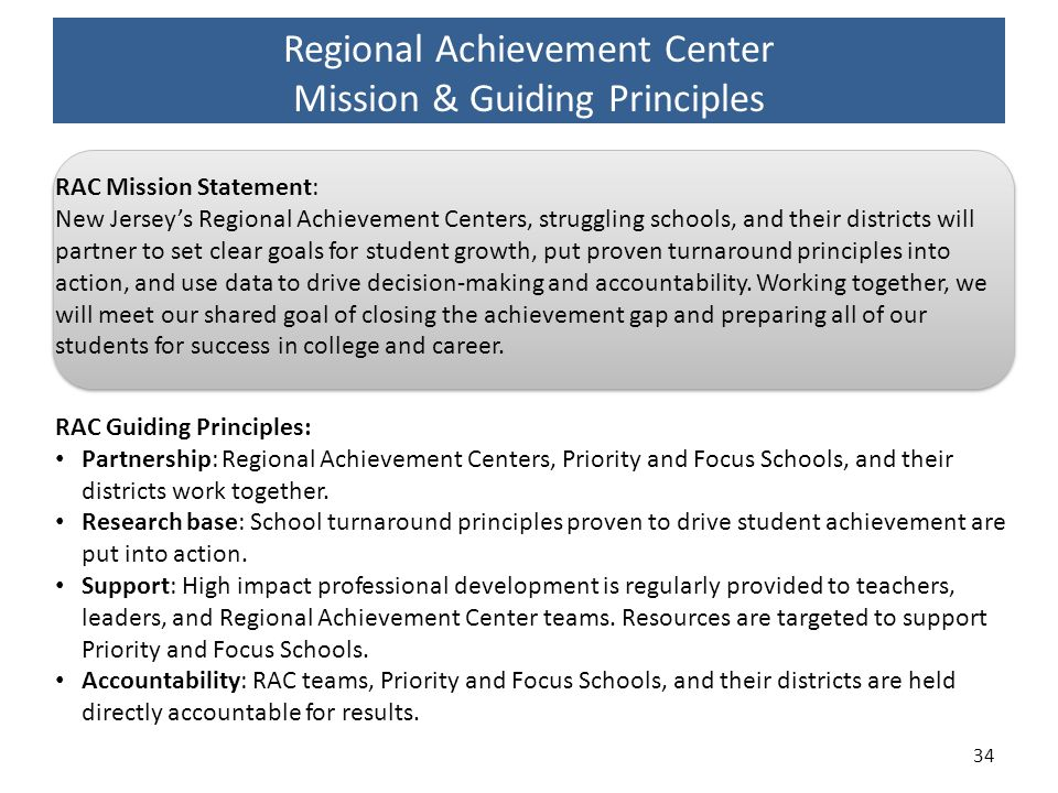 Regional Achievement Center Mission & Guiding Principles