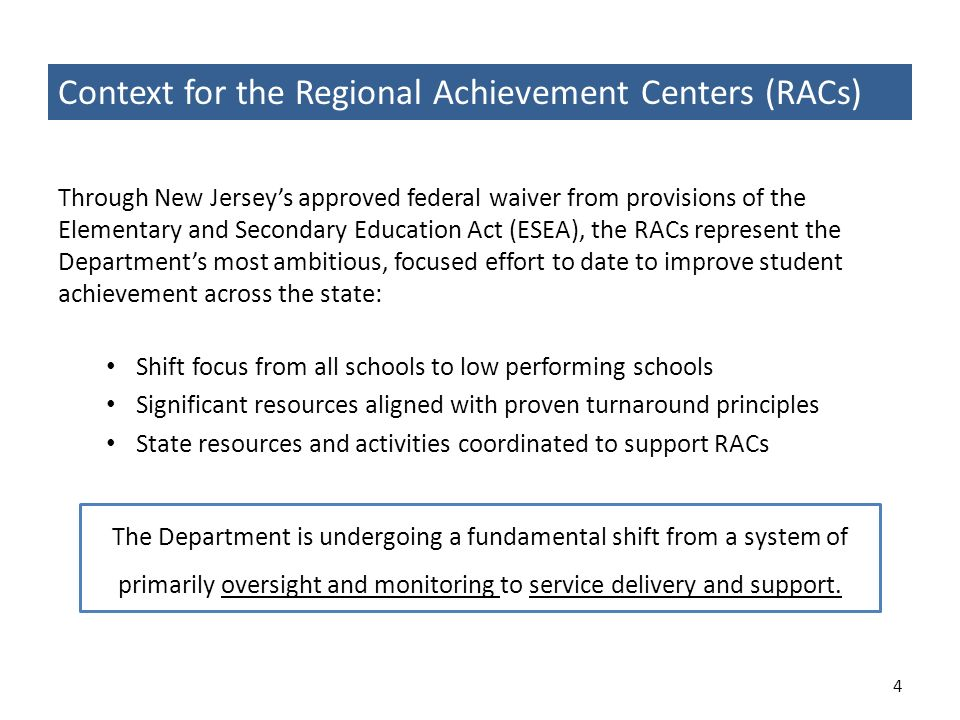 Context for the Regional Achievement Centers (RACs)