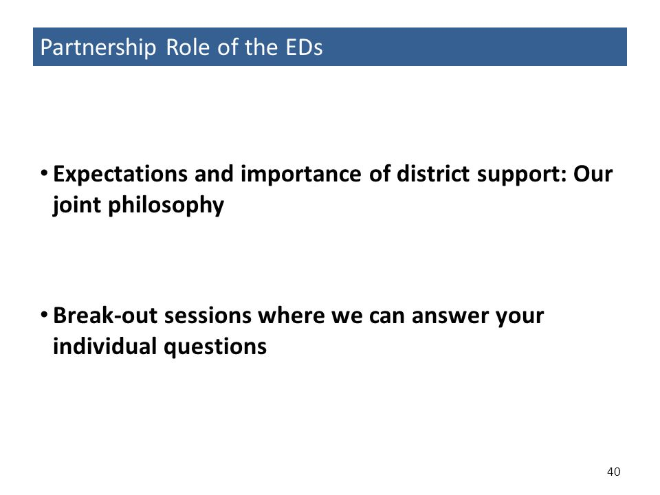 Partnership Role of the EDs