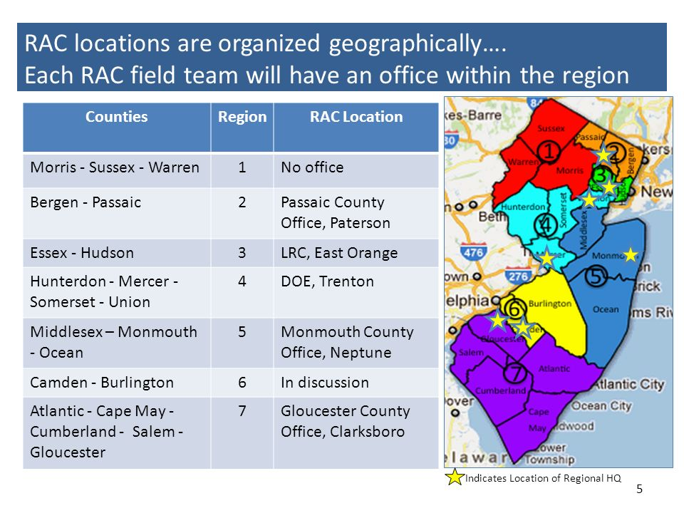 RAC locations are organized geographically…