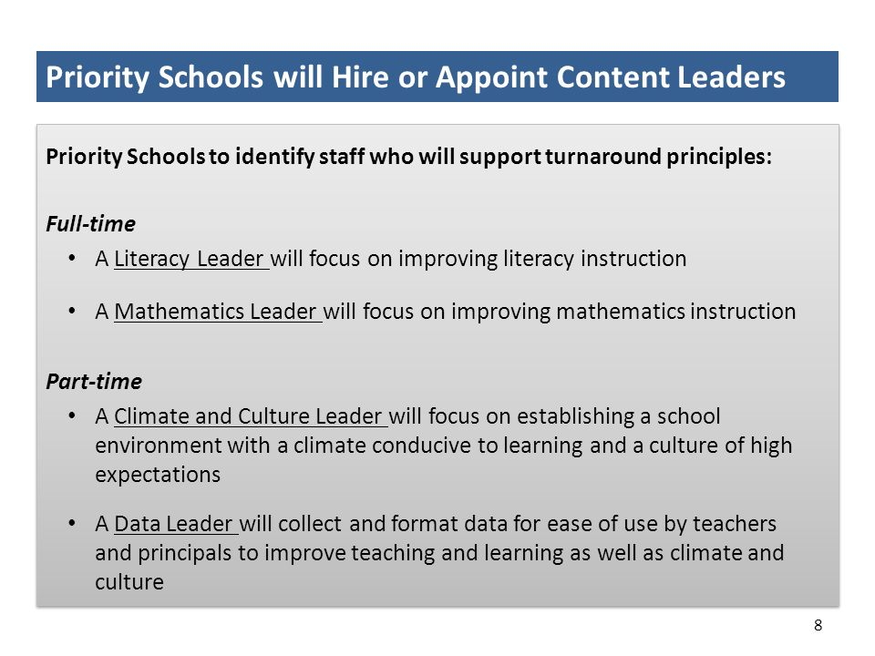 Priority Schools will Hire or Appoint Content Leaders