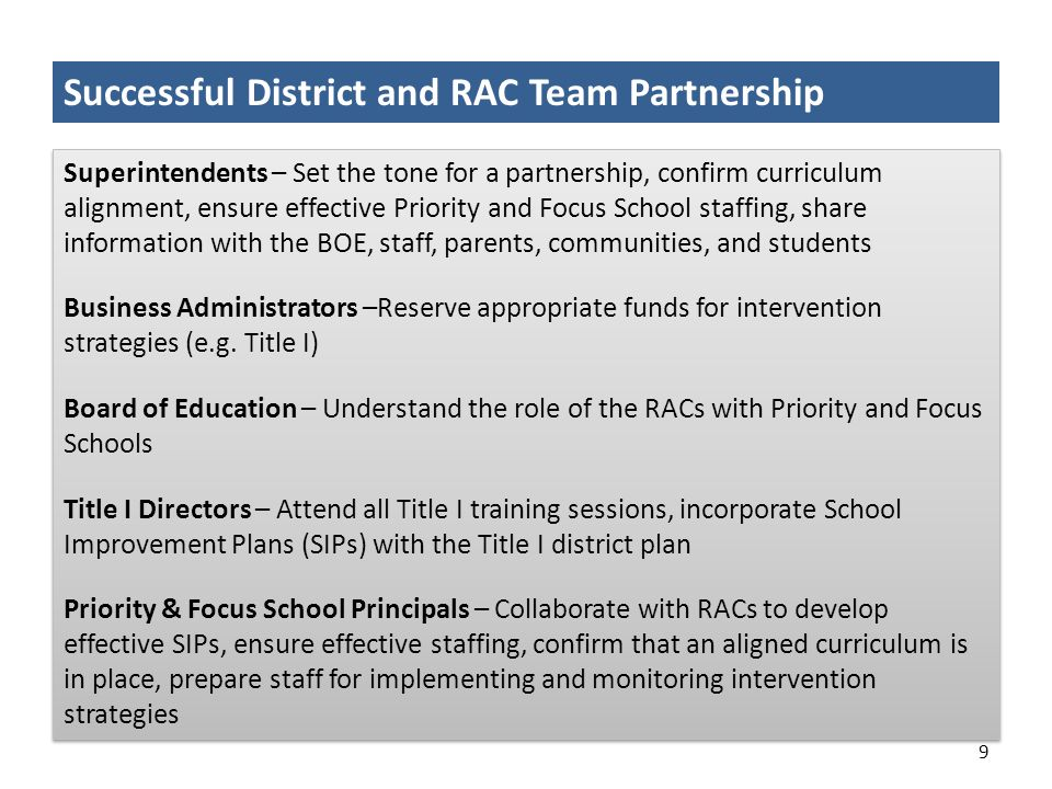 Successful District and RAC Team Partnership