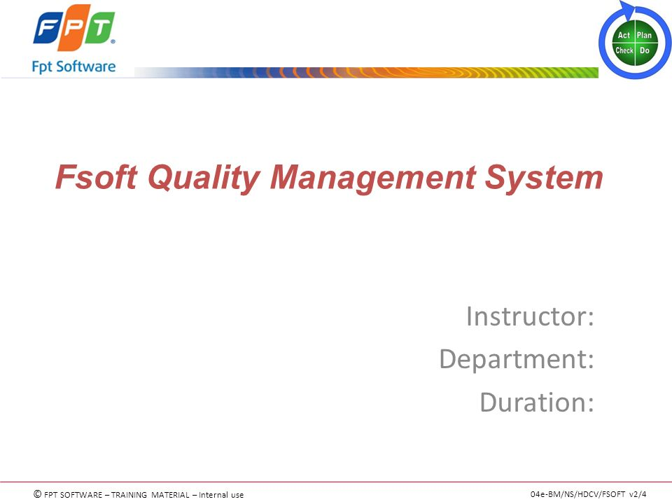 Fsoft Quality Management System